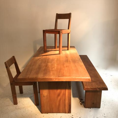PIERRE CHAPO DINING TABLE SET DESPREZ BREHERET